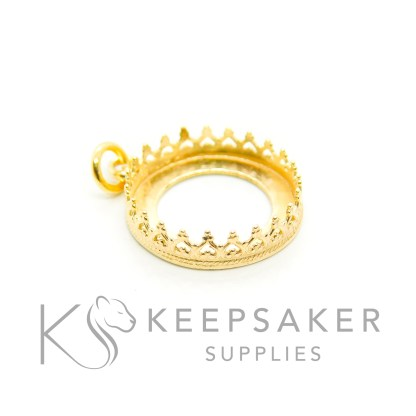 solid silver plated with gold 3 microns thick, gold vermeil round necklace setting with crown points and jump ring
