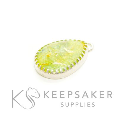 green yellow ashes teardrop necklace with scalloped points, solid silver