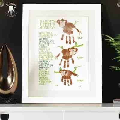Handprint monkey-poem-sibling-gift for Dad