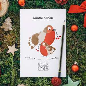 Robin Footprints- A5 personalised Christmas Cards