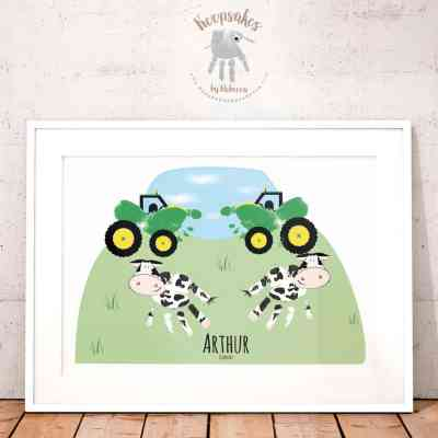 Tractor handprint art | gift for daddy