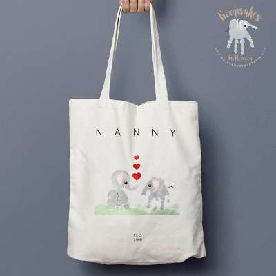 elephant handprint art personalised tote bag for nanny