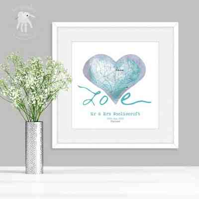 Personalised wedding gift map art