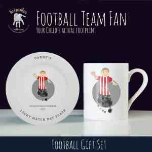 Football themed gift for dad – mug and plate set