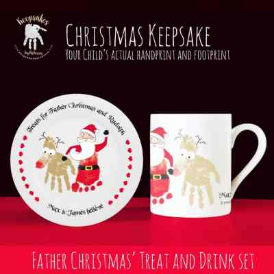 Personalised treats for Santa and rudolph, Santa plate, Father Christmas plate