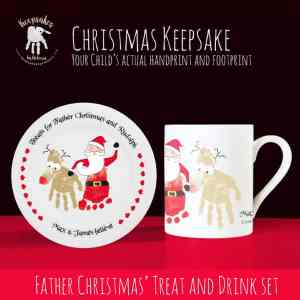 Personalised Christmas cup and plate set