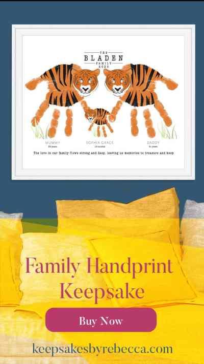 Tiger family hand print keepsake | Family Quote