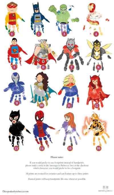 Handprint art- superhero-gift-for-dad-batman-handprint-gift-son-daughter-personalised