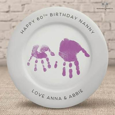 Handprint plate- personalised gift for Nanny - personalised 60th birthday gift