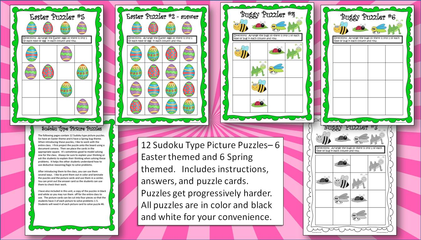 Beginning Logic Puzzles And Activities Spring Themed For