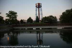 Water tower near pond downtown Idaho Falls