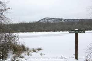 snow covered pond