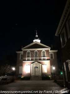 Independence Hall lit at night