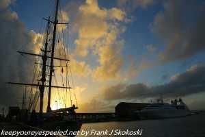 sail ship and cruise ship in morning sunlight
