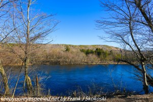 trees along blue waters of Lehigh River