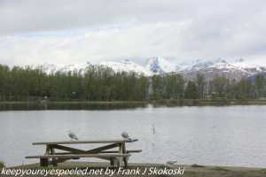 snow capped moutnains on lake