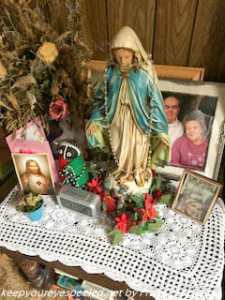 statute of Blessed Virgin Mary in mom's house
