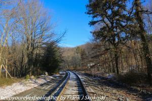 wintry scene on railroad tracks