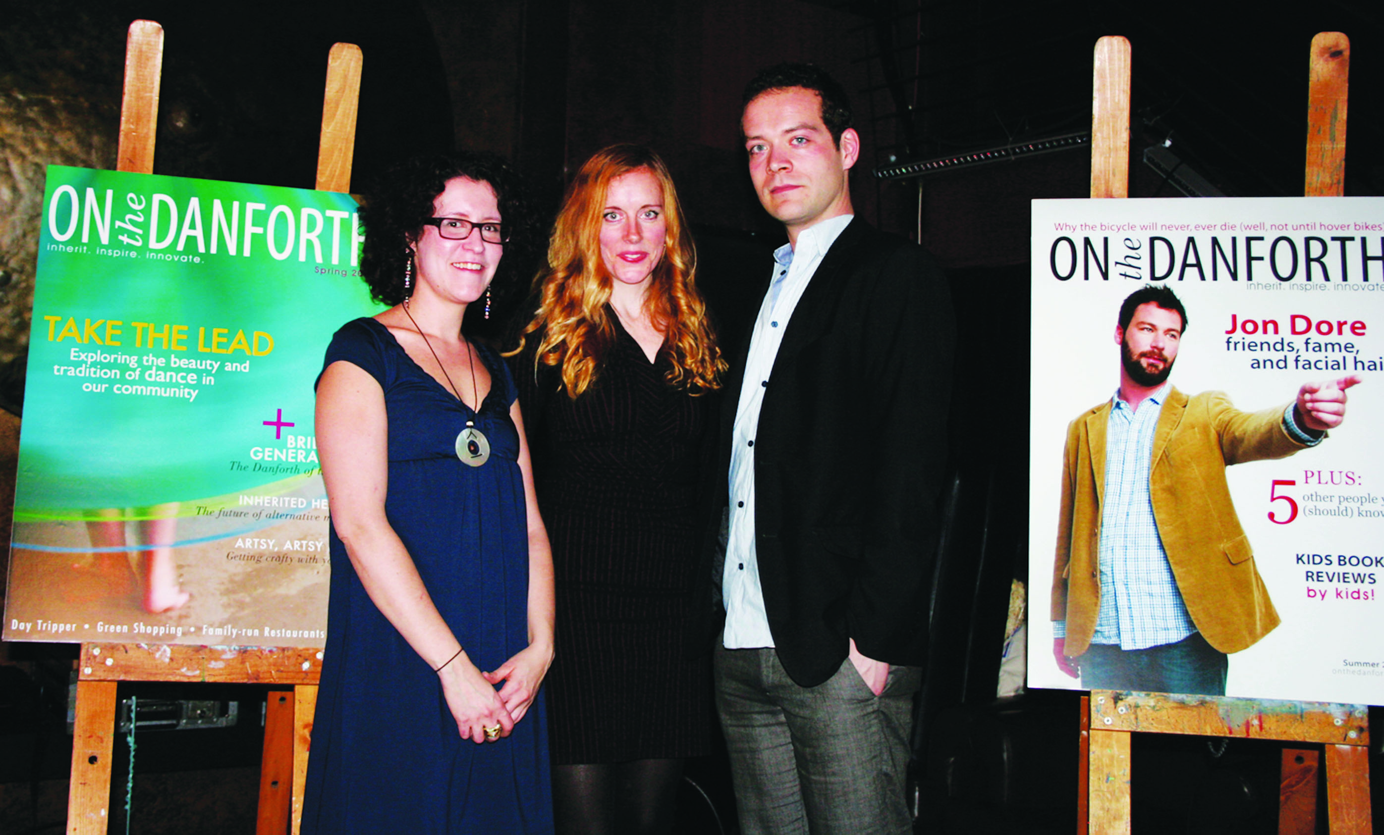 Publisher Stan Byrne (centre) stands between editors-in-chief Nicole Chaplin (left) and Jason Rhyno at the 2009 launch celebration of On the Danforth magazine, held at Myth Restaurant and Lounge on March 18.