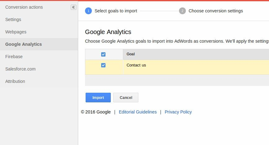 GA Goal in Adwords