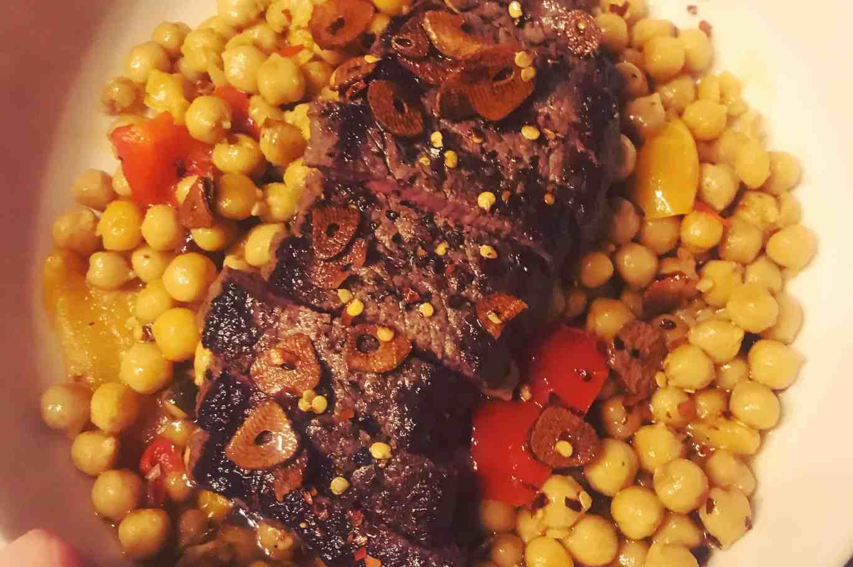 Charred Sirloin Steak Charred Pepper Garlic Chilli Oil