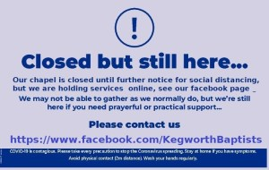Noitice about the chapel closure due to COVID 19
