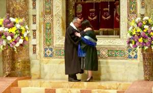 Cantor Tamara Wolfson receiving Smicha (a leaning of hands for ordination) on her ordination on Sunday