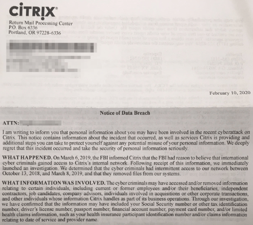 Citrix Notice of Data Breach