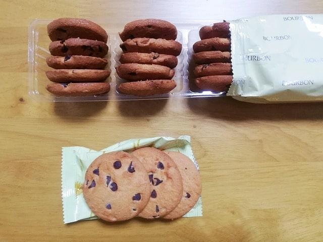 チョコチップクッキーの大きさ比較