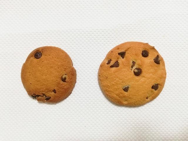 チョコチップクッキーは大きくなって少なくなった