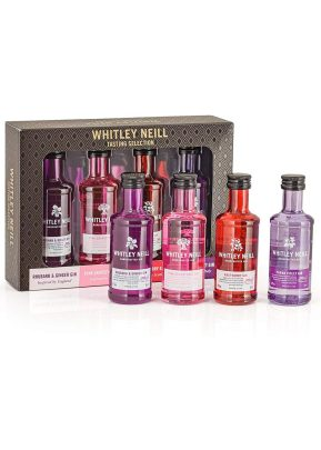 Whitley Neill Gin | 4 x 5cl Flavour Selection | Rhubarb & Ginger Pink Grapefruit Raspberry & Parma Violet | KeiCo Drinks