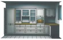 Küchenfront mit Backofen und integrierten Kühlschrank