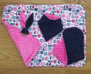 Hot Pink and Navy Polka Dot