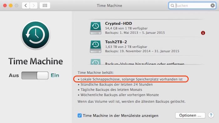 Time Machine SSD Setting