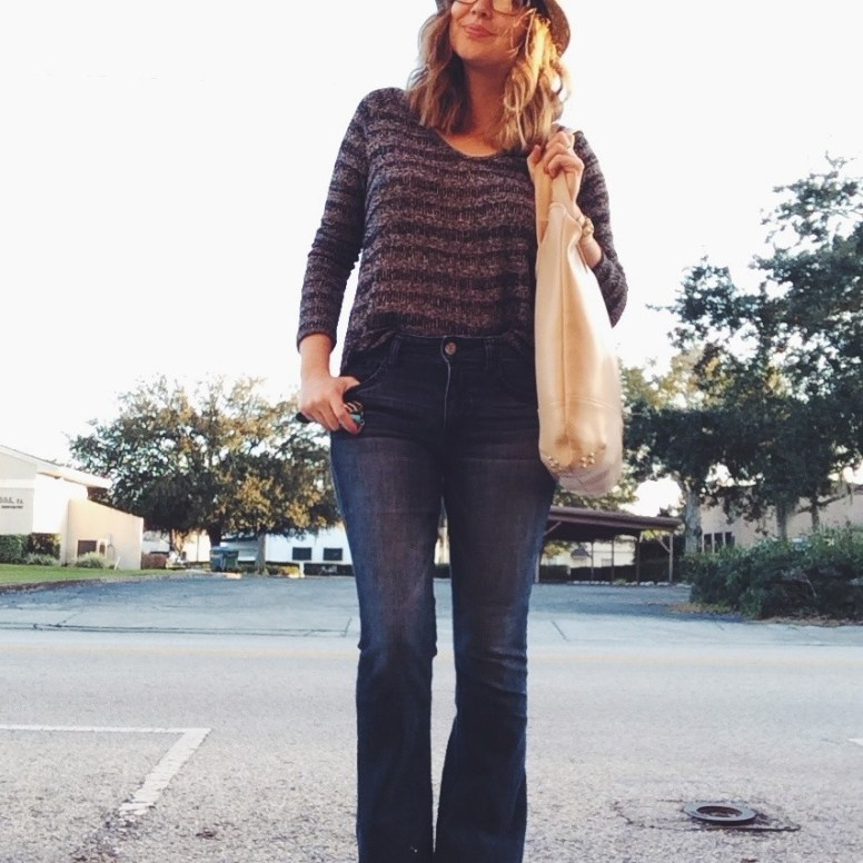 Monday: Aeropostale sweater, AE Hi-Rise Artist jeans, Nine West hat, Lauren Merkin bag.