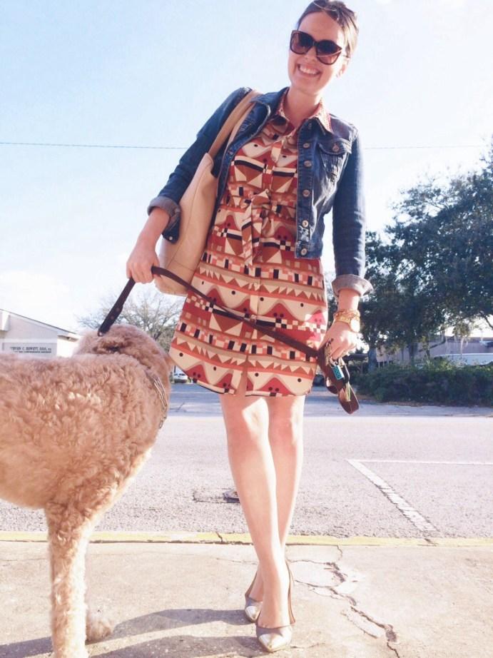 A Pretty Penny   Viva Vena by Vena Cava dress with denim jacket and B Brian Atwood flats