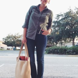 Tuesday: J. Crew military shirt, DL 1961 Angel ankle skinnies, Brian Atwood flats via Hautelook, Lauren Merkin bag.