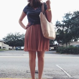 Wednesday: LC Lauren Conrad pleated skirt, Aeropostale tee, Cynthia Vincent flats via Hautelook, Lauren Merkin bag.