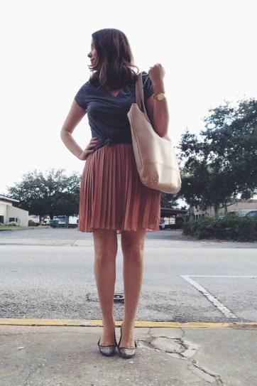Wednesday: LC Lauren Conrad pleated skirt, Aeropostale tee, Cynthia Vincent flats via Hautelook, Lauren Merkin bag.