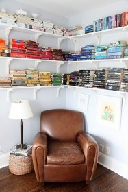 color coordinated high book shelves