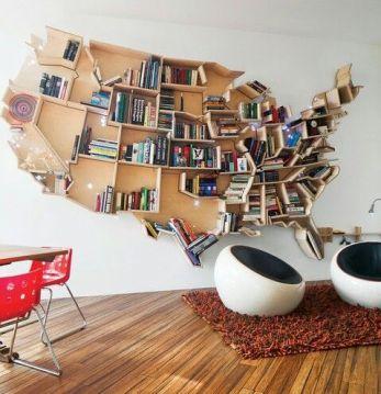 USA map bookcase