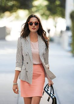 Coral Pencil Skirt & Striped Blazer