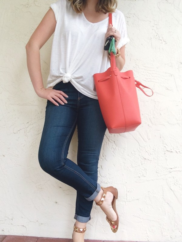A Pretty Penny OOTD Free People High Waist Skinny Jeans Free People Shirt Hautelook Bag Isola Sandals