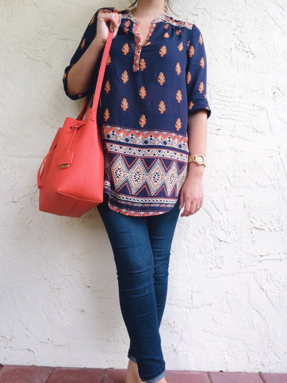 A Pretty Penny Personal Style OOTD Lucky Brand Tunic Free People Hi-Roller Skinnies