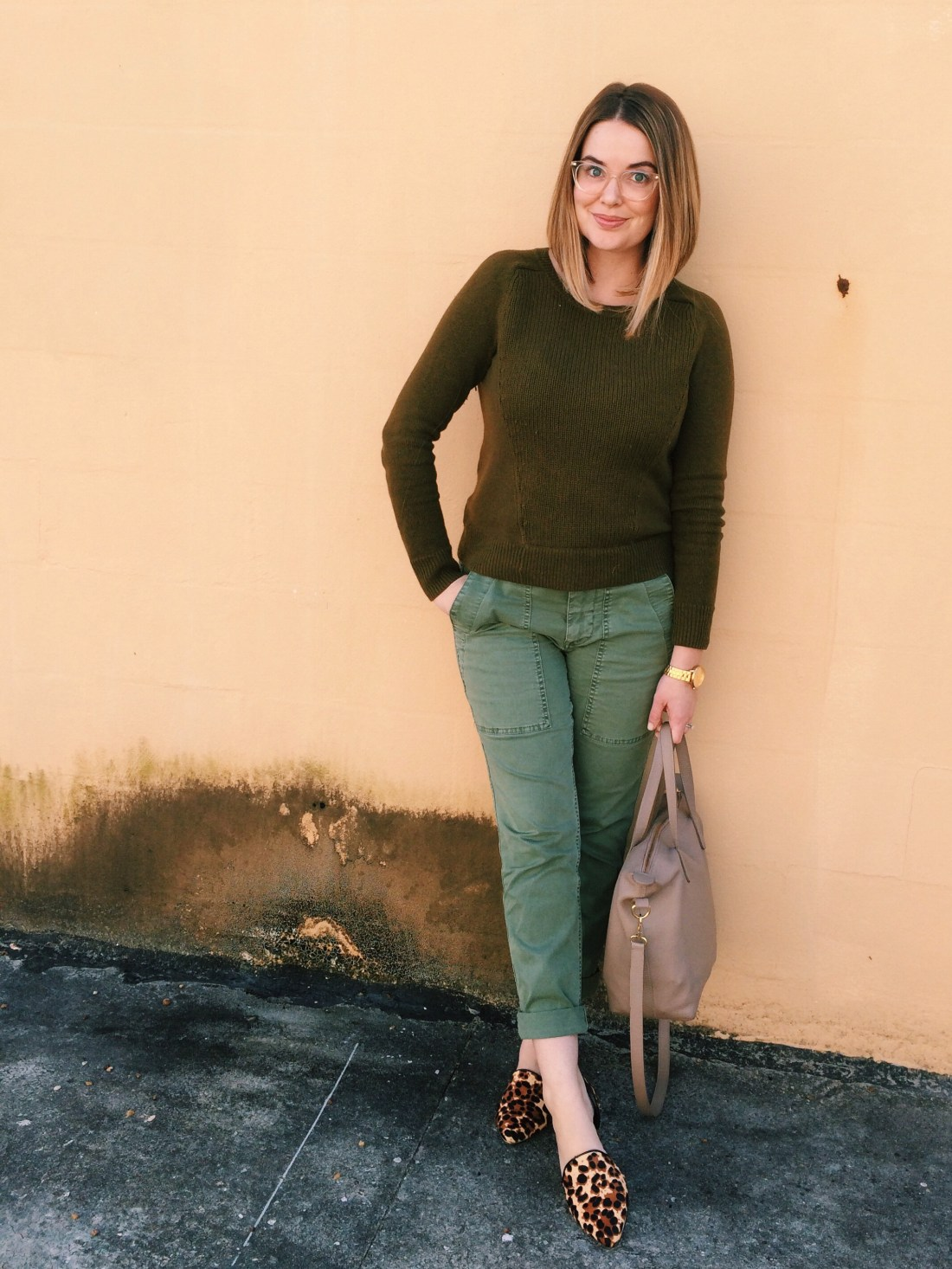Casual Outfit Ideas: Slim fit cargo chinos with sweater and leopard calf hair flats.