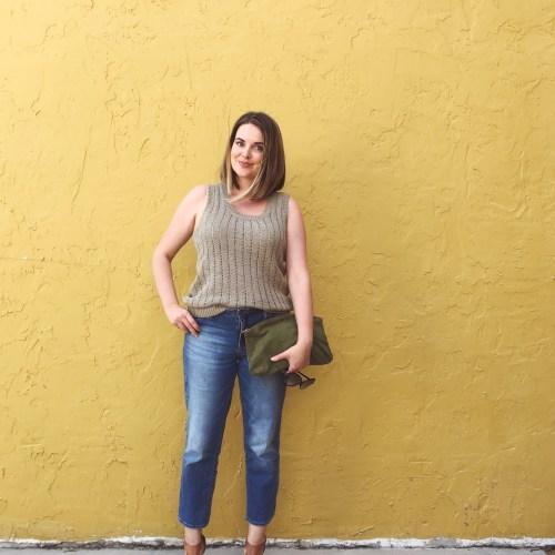 Summer Capsule Wardrobe 2016 | LOFT Texture Knit Tank and Calvin Klein Straight Crop Boyfriend Jeans with Ralph Lauren stacked heel sandals | keiralennox.com