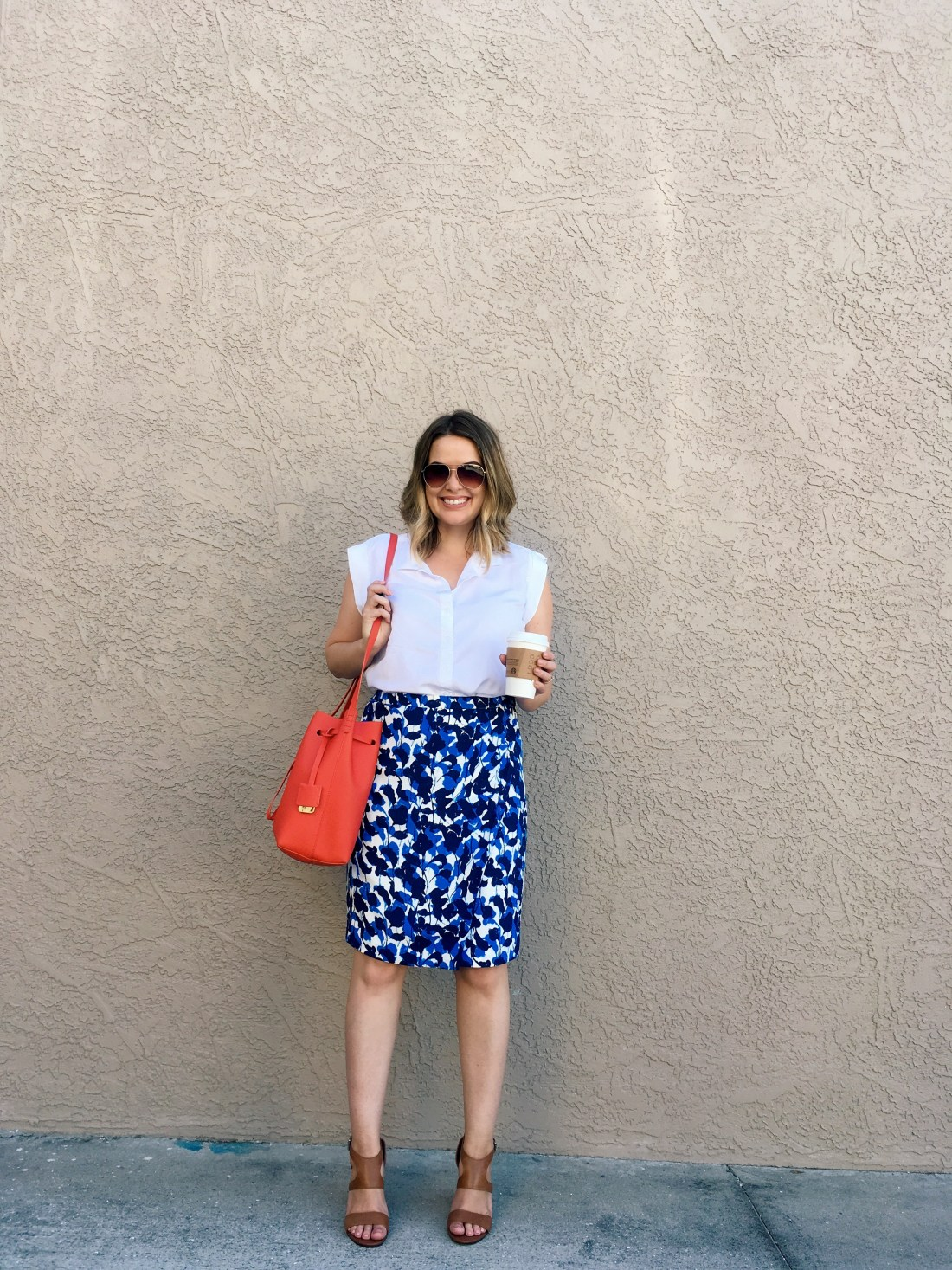 wear to work, J.Crew Factory floral wrap skirt, Kenneth Cole Dover bucket bag, 9 to 5 style