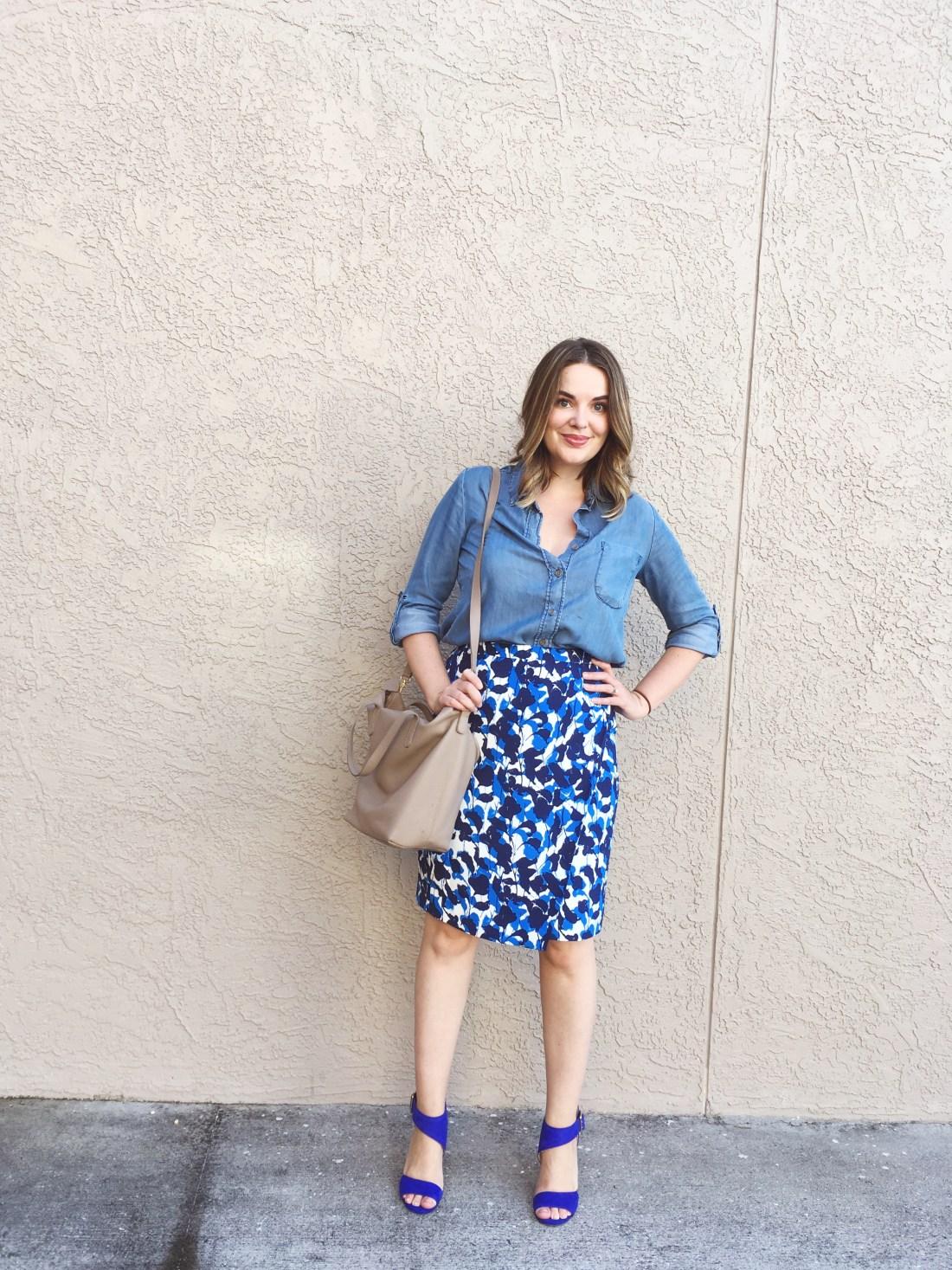 summer capsule wardrobe, wrap skirt, denim shirt and skirt, wear to work denim, 9 to 5 style, creative work outfits