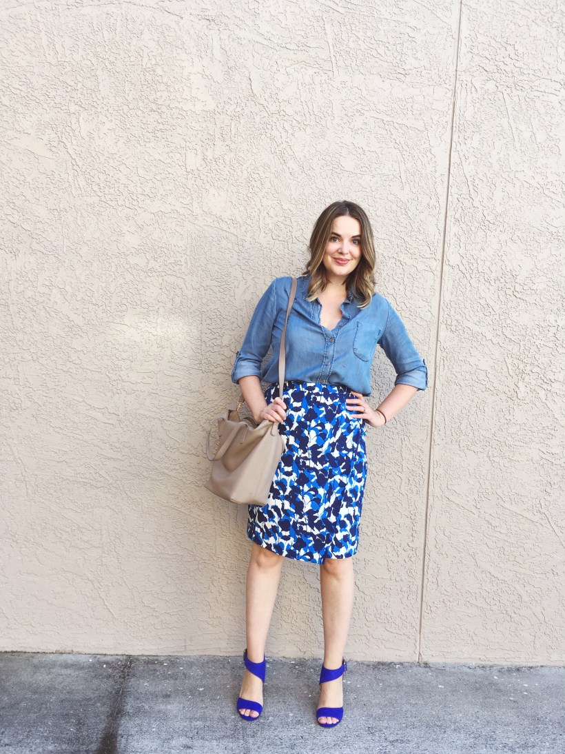 summer capsule wardrobe, wrap skirt, denim shirt and skirt, wear to work denim, 9 to 5 style, creative work outfits