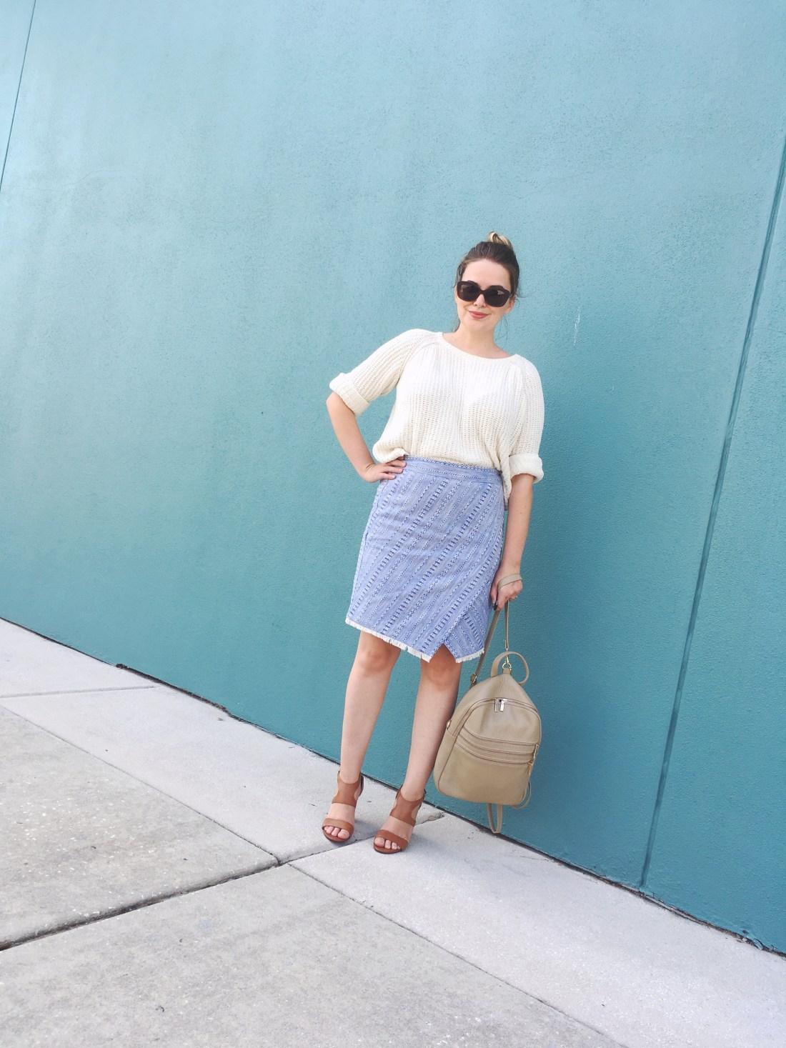 LOFT Blue Tweed Faux Wrap Skirt